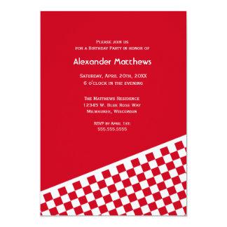 Red Checker Pattern Birthday Party Invitation