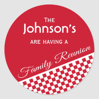 Red Checker Pattern Family Reunion Envelope Seal Classic Round Sticker