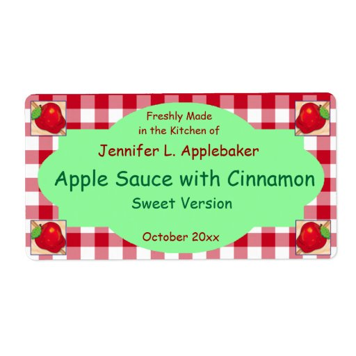 Red Checkerboard and Apple Canning Jar Label