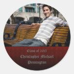 Red checkerboard grunge graduation stickers