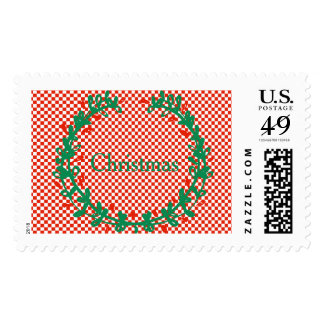 Red Checkerboard Wreath and Sprig Christmas Set Postage