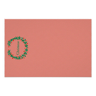 Red Checkerboard Wreath and Sprig Christmas Set Poster