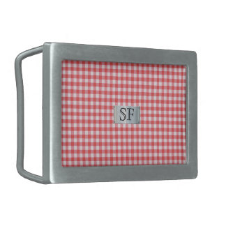 Red Checkered Belt Buckle with Monogram