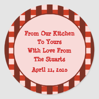 Red Checkered Border Canning Label Stickers