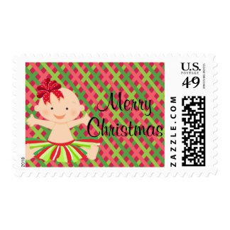 Red Checkered Christmas Baby In Tutu Postage Stamp