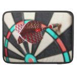 Red checkered dart on dartboard MacBook pro sleeves