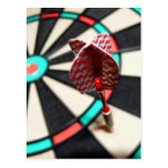 Red checkered dart on dartboard post cards