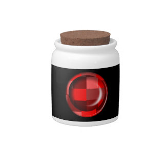 Red checkered pattern Candy Jar
