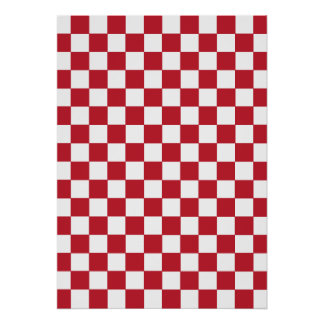 Red Checkered Pattern Poster