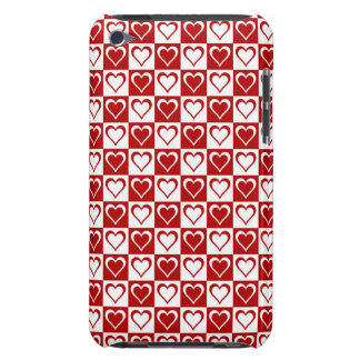 Red Checkered pattern with Hearts iPod Touch Cover