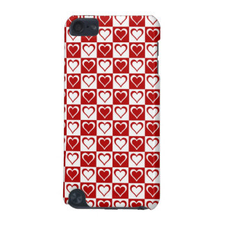 Red Checkered pattern with Hearts iPod Touch 5G Cases
