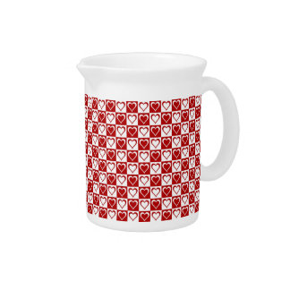 Red Checkered pattern with Hearts Drink Pitcher