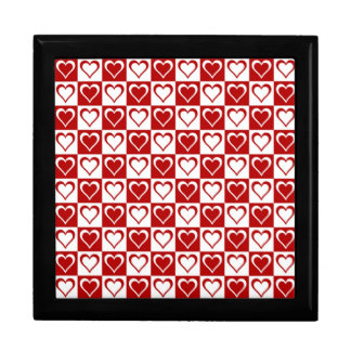 Red Checkered pattern with Hearts Jewelry Box