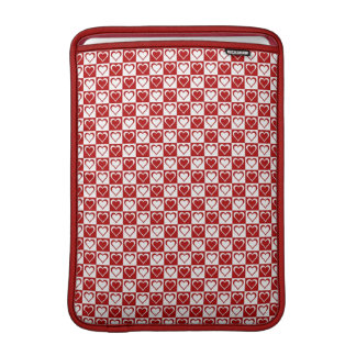 Red Checkered pattern with Hearts MacBook Sleeve