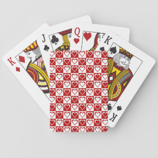 Red Checkered pattern with Hearts Poker Cards