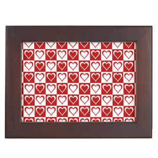 Red Checkered pattern with Hearts Keepsake Box