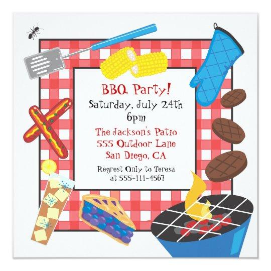 Red Checkered Picnic Barbecue Party Invitation