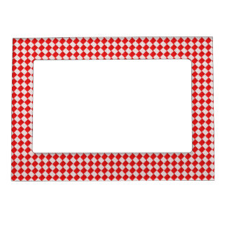 Red Checkered Picnic Tablecloth Background Magnetic Photo Frame