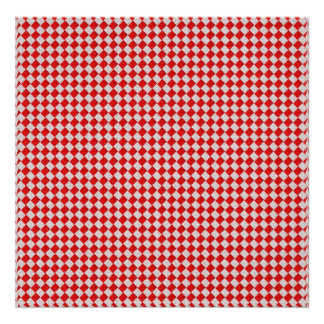 Red Checkered Picnic Tablecloth Background Poster