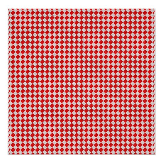 Genial Red Checkered Picnic Tablecloth Background Poster