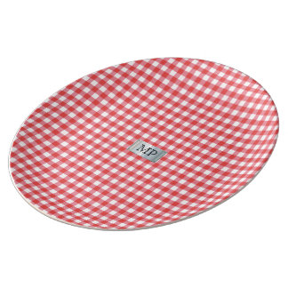 Red checkered Porcelain Plate with Monogram