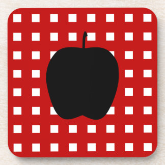 Red Checkered with Apple Silhouette Beverage Coaster