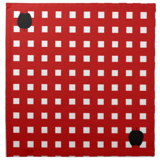 Red Checkered with Apple Silhouette Cloth Napkin