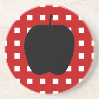 Red Checkered with Apple Silhouette Drink Coaster