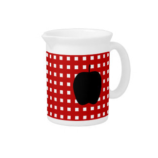 Red Checkered with Apple Silhouette Drink Pitchers