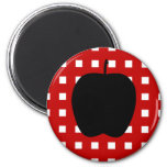 Red Checkered with Apple Silhouette Magnet