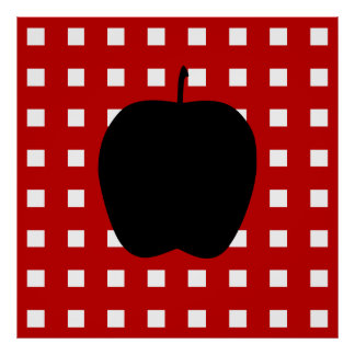 Red Checkered with Apple Silhouette Poster