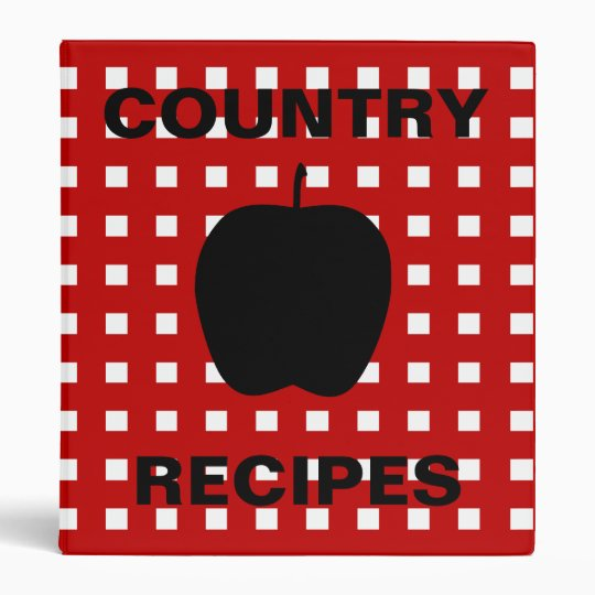 Red Checkered with Apple Silhouette Recipe Binder