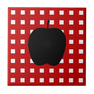 Red Checkered with Apple Silhouette Tile