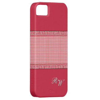 Red checkered with Monogram iPhone SE/5/5s Case