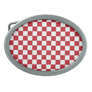 Red Checkers Belt Buckle