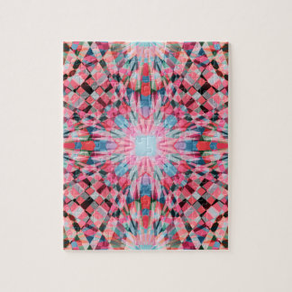 Red Checkers Kaleidoscope Jigsaw Puzzle