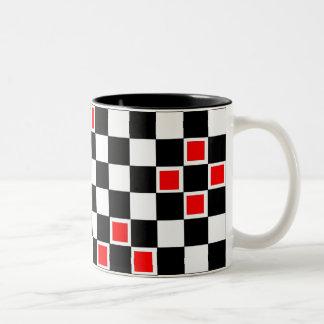 Red Checkers Two-Tone Coffee Mug