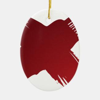 Red Checklist Brushstroke Texture Icon Ceramic Oval Ornament