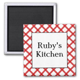 Red Checks Custom Kitchen Saying Magnet