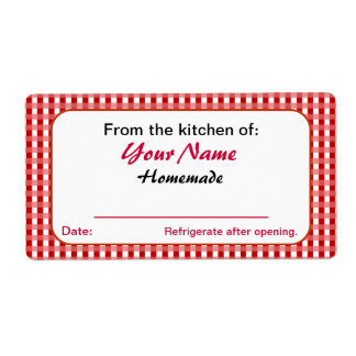 Red Checks Personalized Pickle Canning Jar Labels