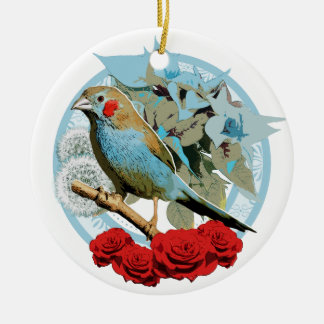 Red Cheeked Cordon Bleu Finch Ceramic Ornament