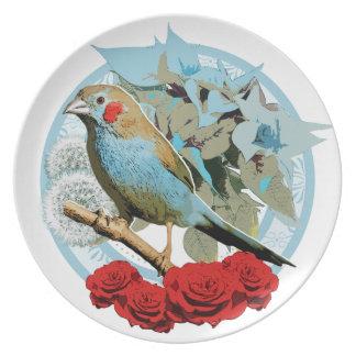 Red Cheeked Cordon Bleu Finch Dinner Plate