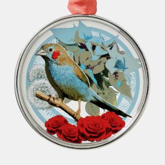 Red Cheeked Cordon Bleu Finch Metal Ornament