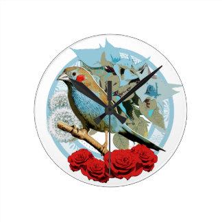 Red Cheeked Cordon Bleu Finch Round Clock