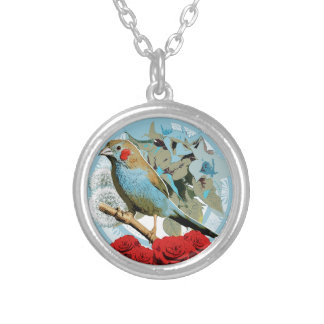 Red Cheeked Cordon Bleu Finch Round Pendant Necklace