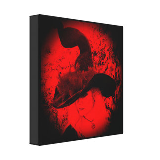 Red Cheeky Witch Vignette Wrapped Canvas Print