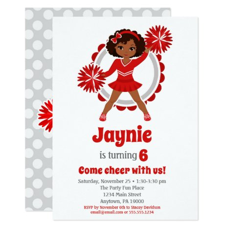 Red Cheerleader - African American Birthday Invitation