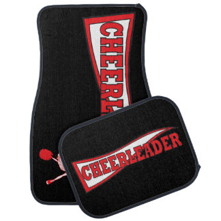 Red Cheerleader Banner Car Floor Mat