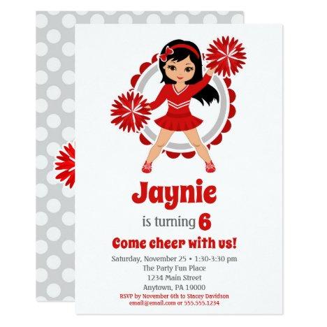 Red Cheerleader Black Hair Girls Cheer Birthday Invitation