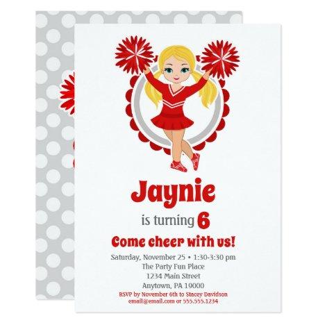 Red Cheerleader - Blonde Girls Cheer Birthday Invitation